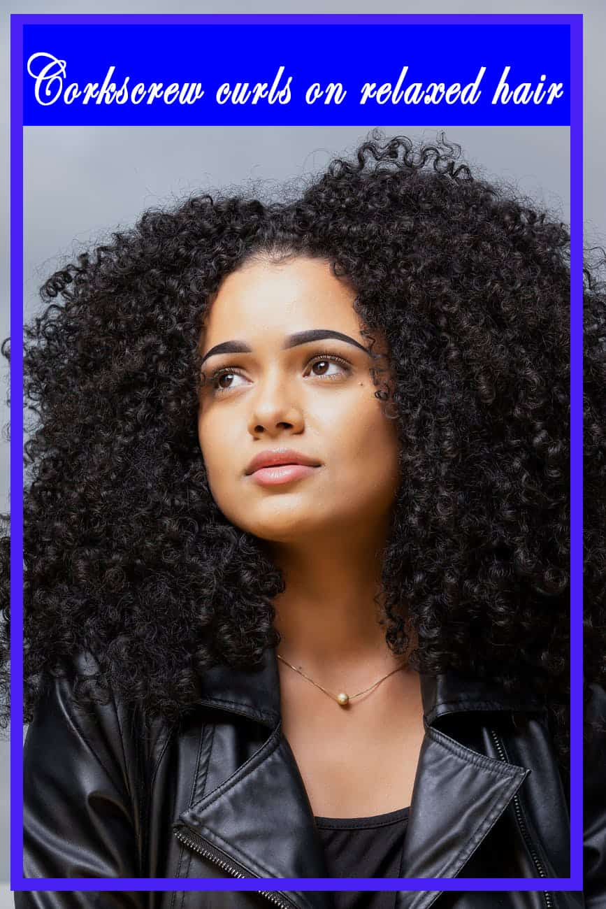 Corkscrew curls on relaxed hair